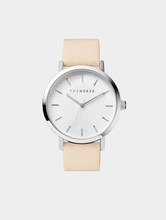 Polished steel and vegetable tan leather watch by The Horse. This watch features a polished stainless steel case, white face with minimal silver Horse Watch, Jewelry Mirror, Horse Jewelry, Grey Leather, Silver, Stuff To Buy, Paper Plane, Coleslaw Dressing, Vegan Coleslaw