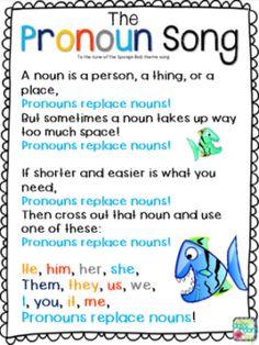 The Pronoun Song, to the tune of the Sponge Bob theme song