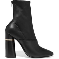 3.1 Phillip Lim Kyoto leather ankle boots (8.788.960 IDR) ❤ liked on Polyvore featuring shoes, boots, ankle booties, black leather ankle booties, black high heel boots, black bootie, black leather bootie and high heel booties