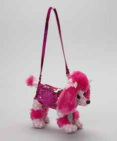 This Hot Pink Polka Dot Poodle Poochie Purse by Poochie & Co. is perfect! #zulilyfinds
