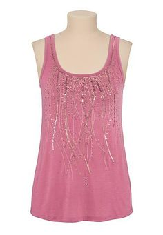 sequin and stud embellished scoop neck tank (original price, $29) available at #Maurices