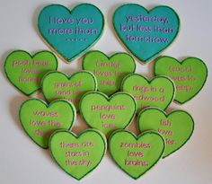 I love you more than cookies! Use cupcakes instead with paper flags instead of fondant.