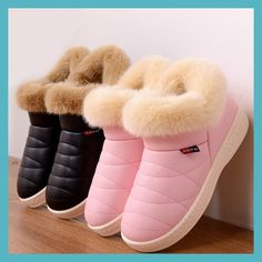 031d595a8 Women Snow Boots Winter Warm Fur Ankle Boots Couple Thick Sole Cotton Shoes  Woman Flats Waterproof