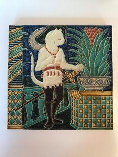 Antique Tiles, Clay Tiles, Bud Vases, Crazy Cats, Vintage Ceramic, Cat Art, Art Nouveau, Vintage Items, Arts And Crafts