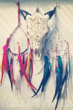 Rainbow Feather Dreamcatcher - these for decorations!!!