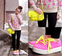 Neon Look (by Wioletta ♡ Mary Kate) - http://lookbook.nu/look/4785825-Shoes-Iclothing-Sweater-Steve-Madden-Bag-Neon-Look