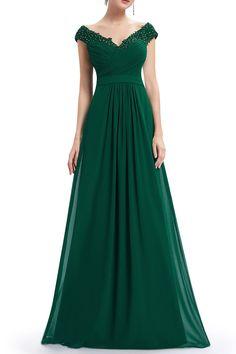 Floral Applique Evening Dress