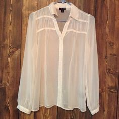Sheer White Button  Up ! Sheer Button Up! Fits loosely. East 5th Tops Button Down Shirts