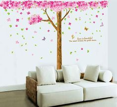Large Cherry Blossom Flowers Tree Removable Wall Art Decals Vinyl Stickers Mural