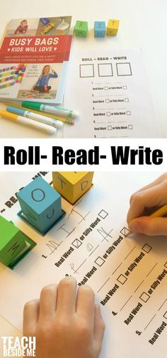 15 Simple Methods Reading and spelling game for beginning readers- Roll~Read~Write from the book Busy Bags Kids Will Love! via Karyn @ Teach Beside Me A Step-By-Step Gu. Reading Games, Kids Reading, Reading Activities, Kindergarten Activities, Teaching Reading, Early Reading, Preschool, Reading Tips, Kindergarten Homeschool Curriculum