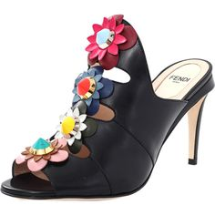 Fendi Flower Embellished Mule ($1,000) ❤ liked on Polyvore featuring shoes, black shoes, open toe shoes, open toe mules, open-toe mules and black high heel shoes