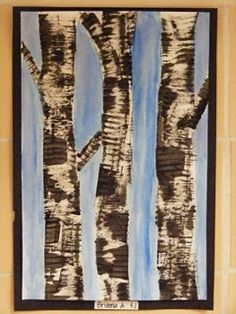Birch tree art...painted with black paint on cardboard for texture