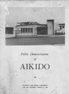 The Honolulu Aiki Dojo, on the cover of the brochure for Morihei Ueshiba O-Sensei's Aikido demonstration at McKinley High School in Honolulu Hawaii in 1961.