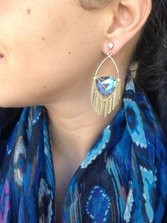 10-155 Blue crystal tirangle and fringe earrings ONLY $20!