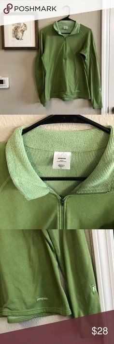 Patagonia Pull Over Half Zip Green Size Large Good preowned condition. Patagonia Pull over Half Zip Sweat Shirt. Size Large. Please let me know if you have any questions :) Patagonia Sweaters