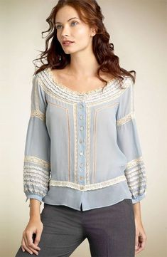 26 Blouses Cardigan For Starting Your Summer - Luxe Fashion New Trends - Fashion Ideas Blouse And Skirt, Blouse Dress, Mode Chic, New Fashion Trends, Fashion Ideas, Beautiful Blouses, One Piece Dress, Elegant Outfit, Lace Tops