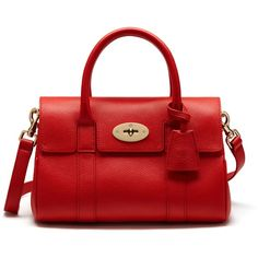 Mulberry Small Bayswater Satchel (€1.110) ❤ liked on Polyvore featuring bags, handbags, fiery spritz, leather satchel handbags, red evening purse, red leather satchel, red leather purse and mulberry purse