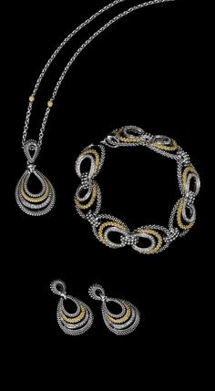 Pavé diamonds set in 18k gold and sterling silver with flourishes of Caviar…
