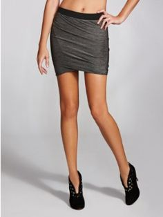 GUESS Women's Grey Marled-Plated Jersey Skirt