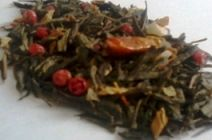 Green tea with pink pepper? Apparently so! Review of: Pepper Mango Green Tea (Gurman's Tea and Coffee) by Sororiteasisters