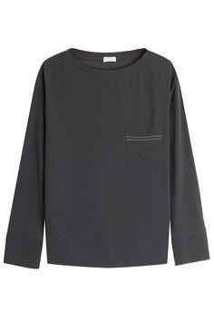 Brunello Cucinelli Embellished Silk Blouse Gr. M   STYLEBOP saved by #ShoppingIS