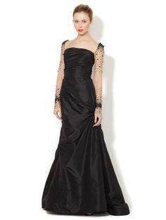 Silk Taffeta Sequin Sleeve Gown by Reem Acra on Gilt.com