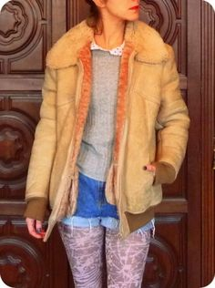 Vintage Mantel Dufflecoat WINTER Leder Parka Shabby Jacke mit Taschen Fell 38 40 | eBay