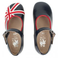 Start-rite Navy and Red Union Jack Mary Janes
