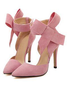 Zapatos con tacón alto lazo-rosado 28.80