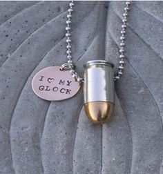 """Priceless!  With the shadow in the middle on the tip of the bullet made me think 'what if they made a bullet as a penis, would women rush to the store to buy it????'  Just wondering... Bullet Jewelry, """"I Love My Gun, Glock, 1911"""" Customized Hand Stamped Charm, 45 Caliber or 9mm Bullet Ball Chain Necklace on Etsy, $33.00 ~~"""
