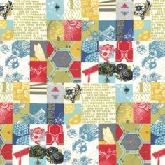 MODA Cotton Fabric - Novelty Garden Patch Multi - Be My Honey Bee Happy by Mary Jane Butters - 11620 11