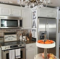 Creative And Inexpensive Useful Ideas: Large Kitchen Remodel Paint Colors large kitchen remodel islands.Kitchen Remodel Ideas Before And After small kitchen remodel townhouse.Small Kitchen Remodel One Wall. Home Kitchens, Kitchen Design Small, Kitchen Remodel Small, Whitewash Brick Backsplash, Kitchen Design, Kitchen Decor, Kitchen, Kitchen Redo, Budget Kitchen Remodel