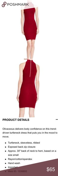 Olivaceous red bodycon sleeveless cocktail dress Rib knit stretchy bodycon dress. Thick fabric that won't show underwear lines. Classic and flattering! No trades Olivaceous Dresses Midi