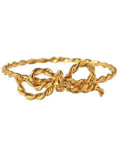 Alex Monroe Gold-Plated Little String Bow Ring