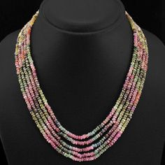 BUYERS TOP MOST DEMANDED 249.00 CTS NATURAL WATERMELON TOURMALINE BEADS NECKLACE in Jewelry & Watches, Fine Jewelry, Fine Necklaces & Pendants, Gemstone | eBay