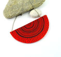 Red and Black Two Sided Wooden Necklace  hand by PumpkinDesign, $30.00