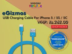 """eGizmos USB Charging Cable For iPhone 5 / 5S / 5C - Buy Now & Get 10% Off & Assure Gift With Coupon Code """" HUNGAMA10 """"  EGizmos #elctronicsale #dealoftheday"""