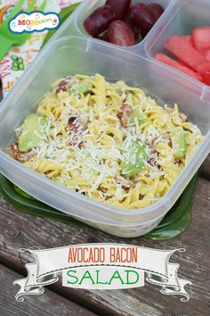 Avocado, Bacon, and Parm Pasta  | packed in an @EasyLunchboxes container