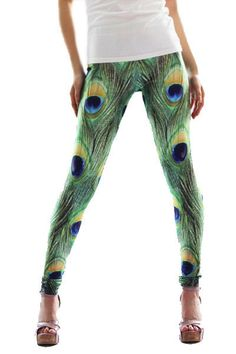 Strut your stuff with these beautiful peacock feather leggings. Flirty and fun these peacock leggings are a perennial best-seller with a print that is just too cute too restrict to the yoga mat.
