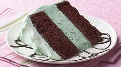 """I made this decades ago in a 9 x 13"""" Pan, Chocolate Cake, Mint Ice Cream, & Cool Whip frosting - You can easily—and economically—make ice cream cake at home! Plus, it can be made in advance."""
