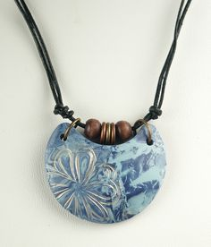 Denim Blue Half Moon Beaded | by WiredOrchid Ceramic Necklace, Ceramic Pendant, Polymer Clay Necklace, Polymer Clay Pendant, Ceramic Jewelry, Polymer Clay Art, Enamel Jewelry, Ceramic Beads, Cold Porcelain Jewelry