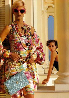 Chanel I Spring 1991 I Models: Christy Turlington, Linda Evangelista I Photographer: Karl Lagerfeld.