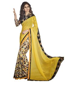 Buy Now Yellow Marble Chiffon Printed Festival Wear Saree with Digital Print Skirt with Blouse only at http://www.Lalgulal.com