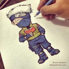 Desenho Naruto shippuden. Kakashi Hatake. Aprenda a desenha do básico até o desenho finalizado no CorelDRAW. #cursodedesenho #cursodedesenhoonline #feitoporbruno