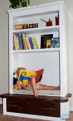 Super cute reading spot! A redone wooden cabinet, take off the doors and give it a fresh paint job.