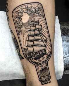"Out of Step Books Publishing on Instagram: ""Digging this #ship in a #bottle #tattoo by @nhatbe who creates really creative and clean work! Be sure to check out NHATBE's awesome page. Viva la Creativity!"""
