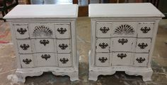 "Here are two large nightstands that I painted a distressed white. Super cute don't you agree?  The dimensions are 27"" L, 16"" W, 29"" H. SOLD!! for $325 https://www.pinterest.com/shabbychictexas/my-shabby-chic-nightstands/"