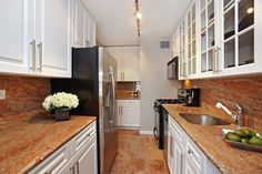 Traditional Kitchen with Inset cabinets, Complex granite counters, Raised panel, Track lighting, Galley, Undermount Sink