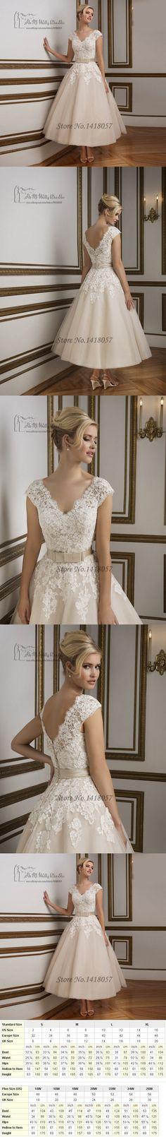 Vestido de Noiva Curto Vintage Tea Length Wedding Dresses 2016 Champagne White Lace Bridal Dress Gowns Princess Short Cap Sleeve $139