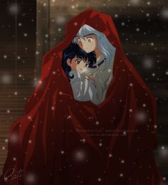 Kagome and InuYasha in the snow under his Robe of the Fire Rat - InuYasha; fan art
